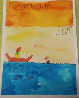 Une Affiche d'Hermanville-sur-Mer façon Art nouveau - Musartdit - Atelier jeune public (46)