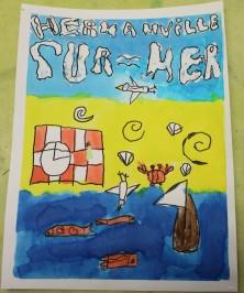 Une Affiche d'Hermanville-sur-Mer façon Art nouveau - Musartdit - Atelier jeune public (49)