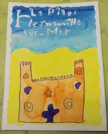 Une Affiche d'Hermanville-sur-Mer façon Art nouveau - Musartdit - Atelier jeune public (50)