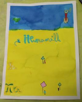 Une Affiche d'Hermanville-sur-Mer façon Art nouveau - Musartdit - Atelier jeune public (51)
