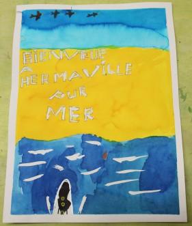 Une Affiche d'Hermanville-sur-Mer façon Art nouveau - Musartdit - Atelier jeune public (52)