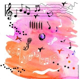 Quelques notes de musique jouaient aux crayons et à l'aquerelle - Musartdit