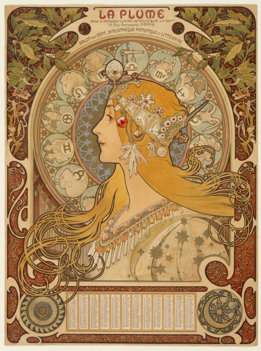zodiaque - La Plume - Alphonse Marie Mucha