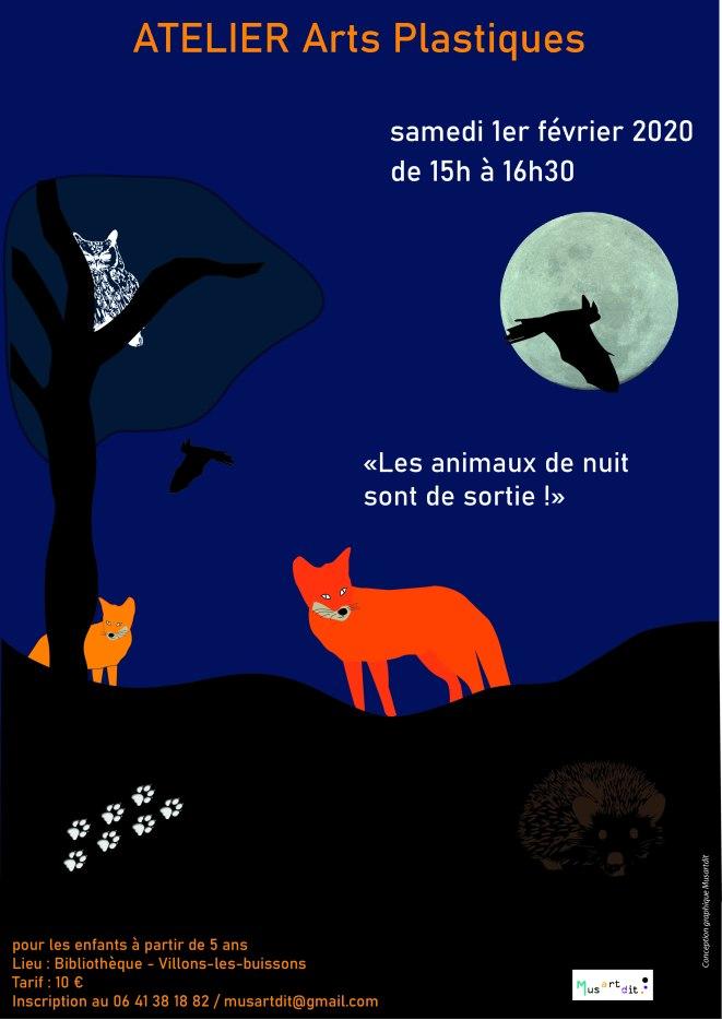 affiche Les animaux de nuit sont de sortie ! - Musartdit